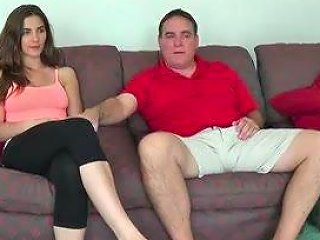 Cute Splendorous Tits Girl Watching Tv With Not His Dad